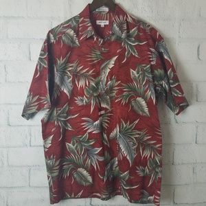 Pierre Cardin Button Down Tropical Palm Leaf